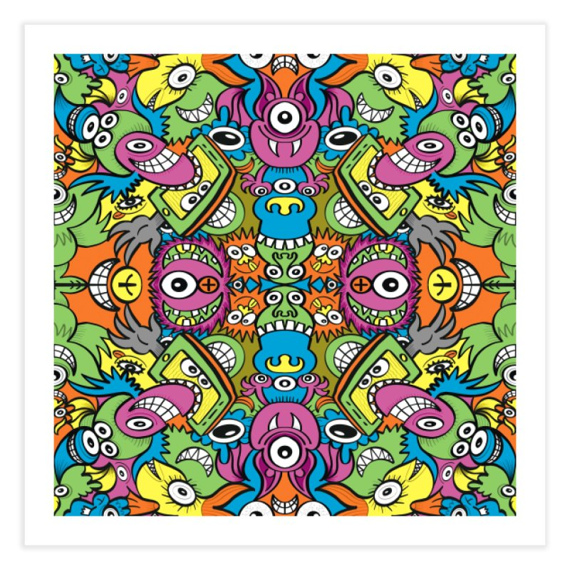 Funny smiling characters in a whimsical pattern design Home Fine Art Print by Zoo&co's Artist Shop