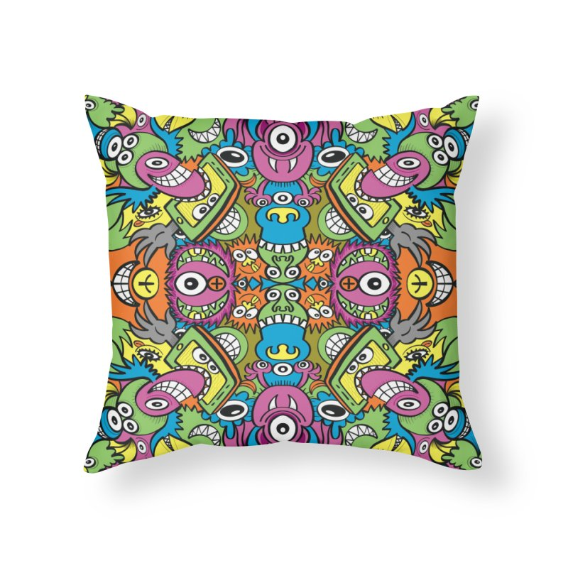Funny smiling characters in a whimsical pattern design Home Throw Pillow by Zoo&co's Artist Shop