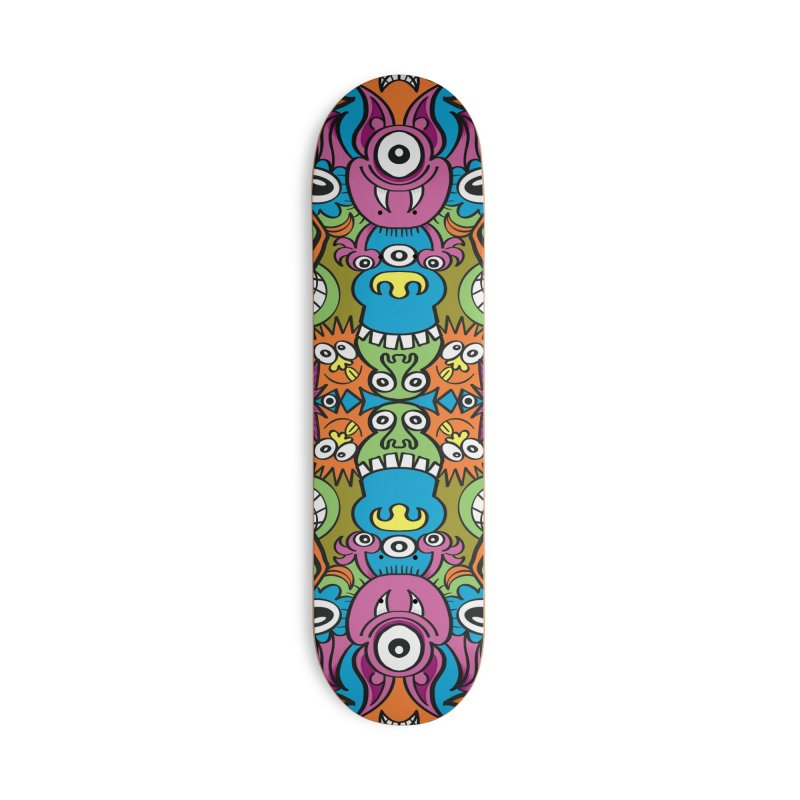 Funny smiling characters in a whimsical pattern design Accessories Skateboard by Zoo&co's Artist Shop