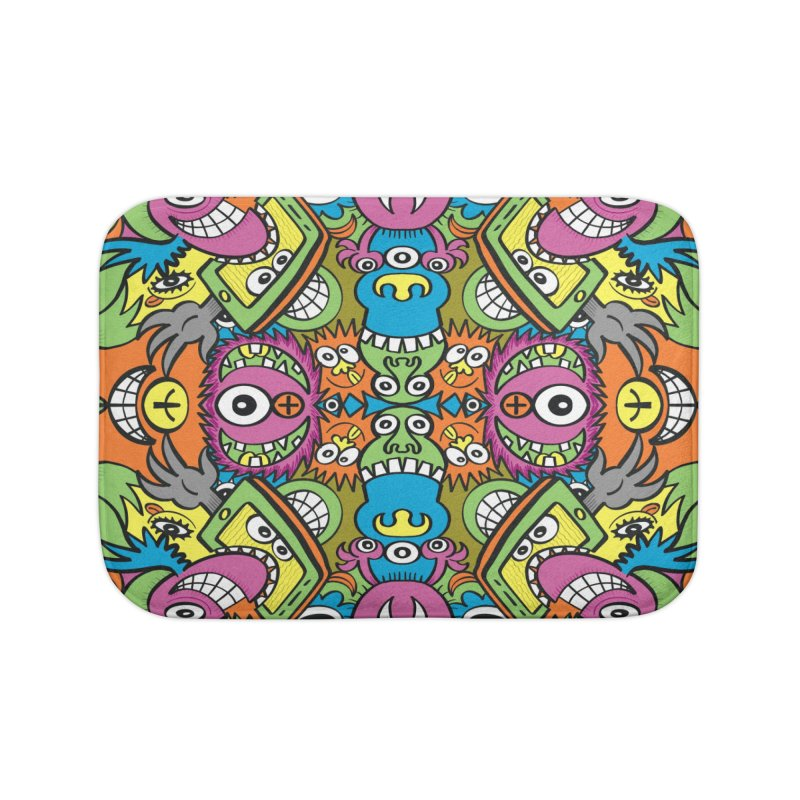 Funny smiling characters in a whimsical pattern design Home Bath Mat by Zoo&co's Artist Shop