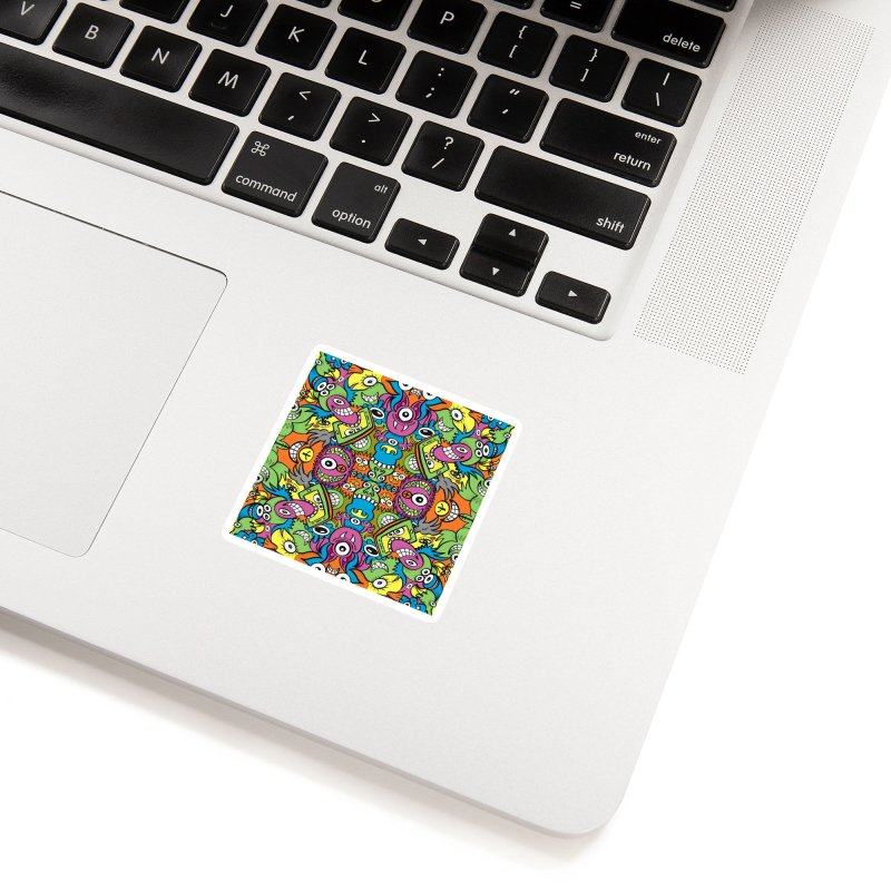 Funny smiling characters in a whimsical pattern design Accessories Sticker by Zoo&co's Artist Shop