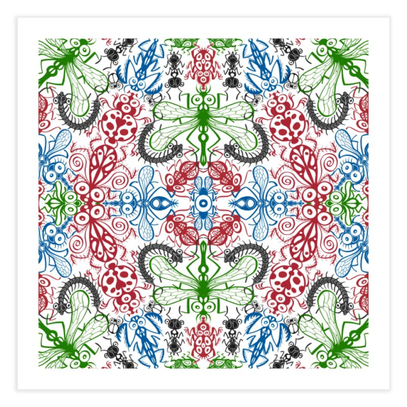 Funny bugs going for a beautiful choreography pattern design Home Fine Art Print by Zoo&co's Artist Shop