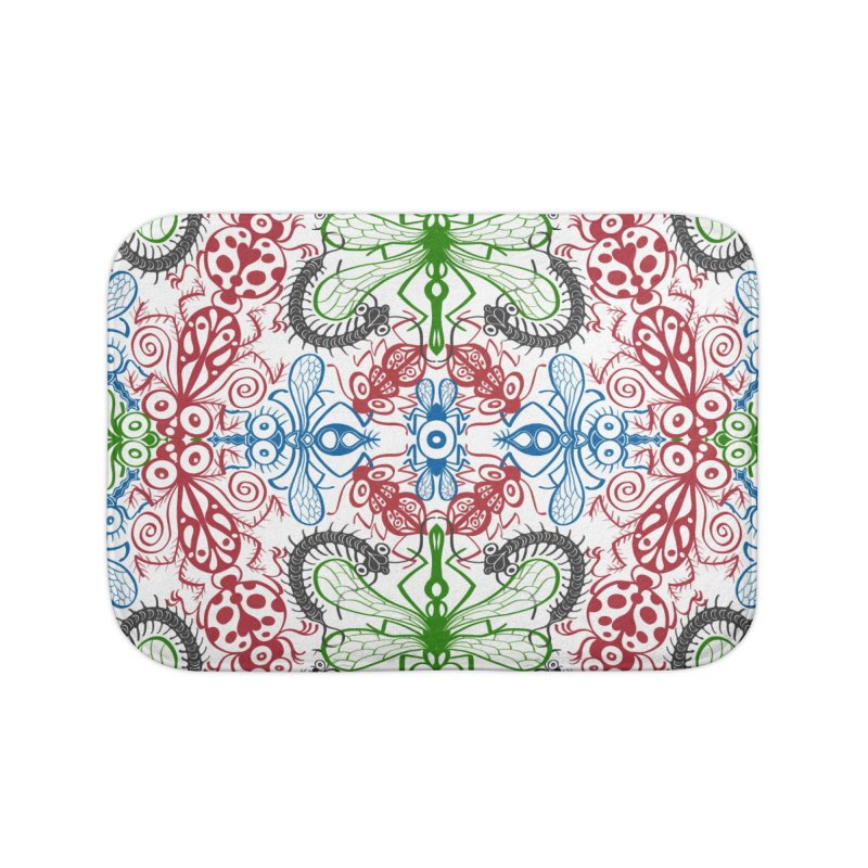 Funny bugs going for a beautiful choreography pattern design Home Bath Mat by Zoo&co's Artist Shop