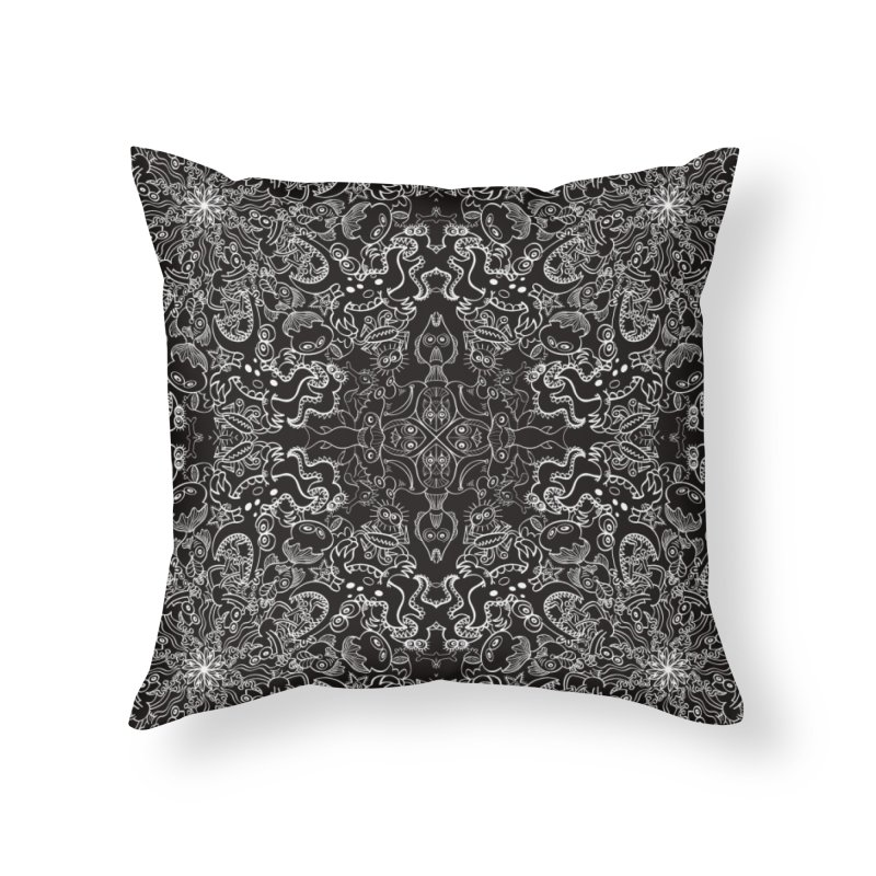 Dark creatures from deep waters mandala design Home Throw Pillow by Zoo&co's Artist Shop
