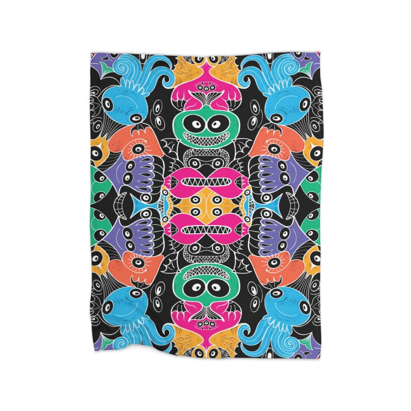 Glowing sea creatures smiling mischievously Home Blanket by Zoo&co's Artist Shop