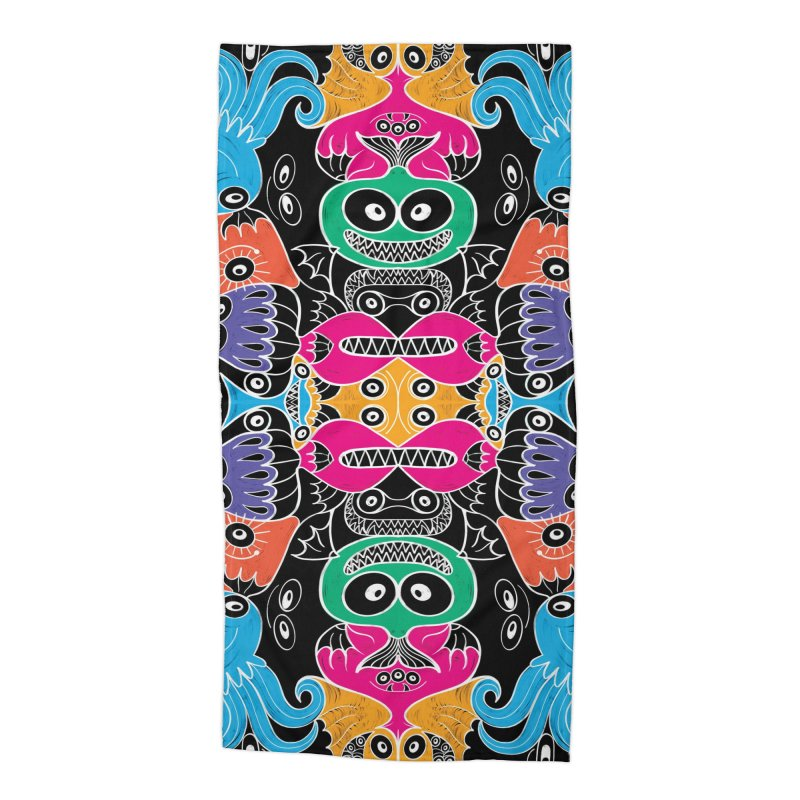 Glowing sea creatures smiling mischievously Accessories Beach Towel by Zoo&co's Artist Shop