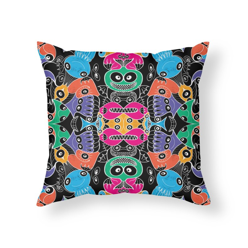 Glowing sea creatures smiling mischievously Home Throw Pillow by Zoo&co's Artist Shop