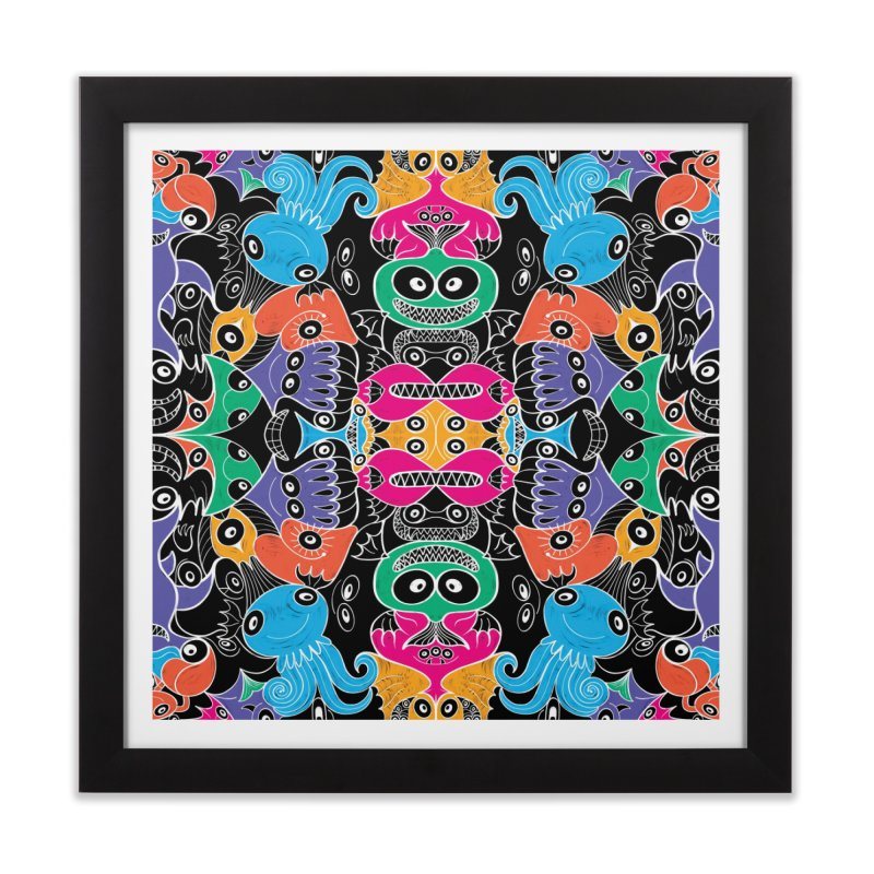 Glowing sea creatures smiling mischievously Home Framed Fine Art Print by Zoo&co's Artist Shop