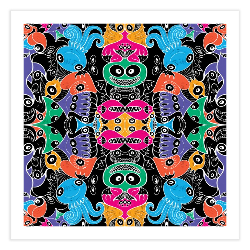 Glowing sea creatures smiling mischievously Home Fine Art Print by Zoo&co's Artist Shop