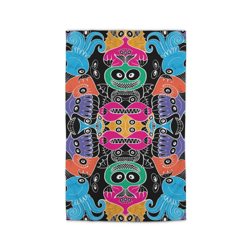 Glowing sea creatures smiling mischievously Home Rug by Zoo&co's Artist Shop