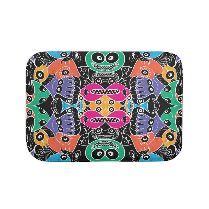Glowing sea creatures smiling mischievously Home Bath Mat by Zoo&co's Artist Shop
