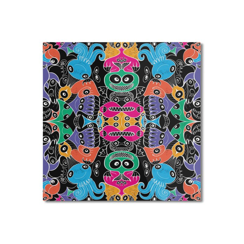 Glowing sea creatures smiling mischievously Home Mounted Aluminum Print by Zoo&co's Artist Shop