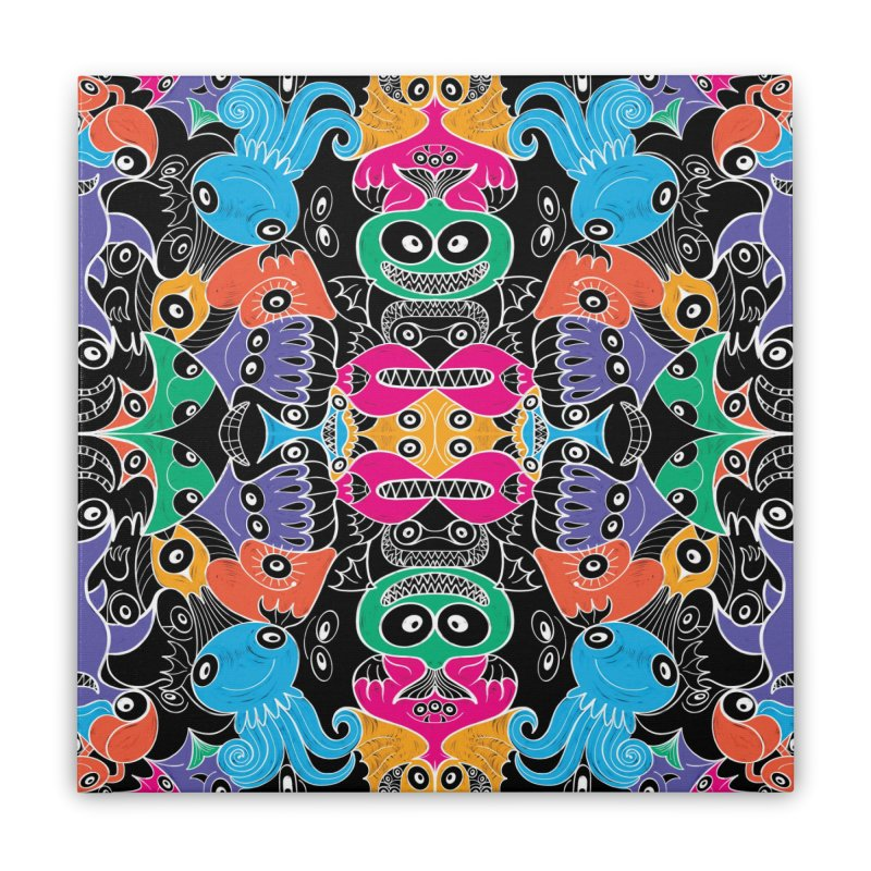 Glowing sea creatures smiling mischievously Home Stretched Canvas by Zoo&co's Artist Shop