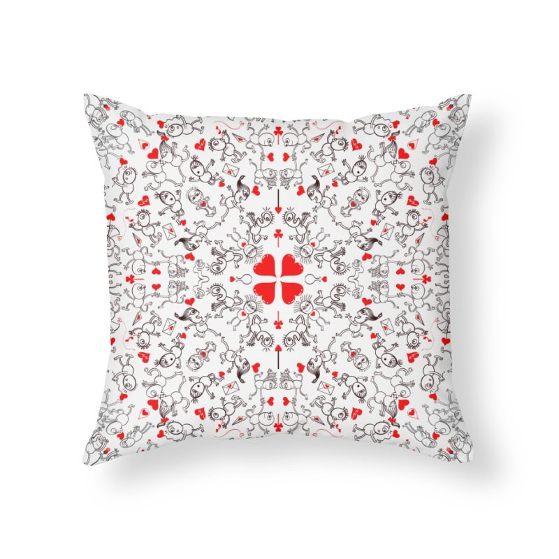 Multiple facets of love in a single funny pattern design Home Throw Pillow by Zoo&co's Artist Shop
