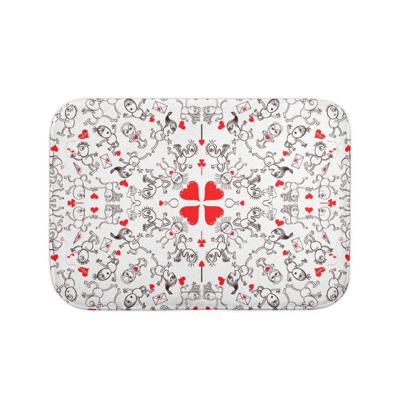 Multiple facets of love in a single funny pattern design Home Bath Mat by Zoo&co's Artist Shop