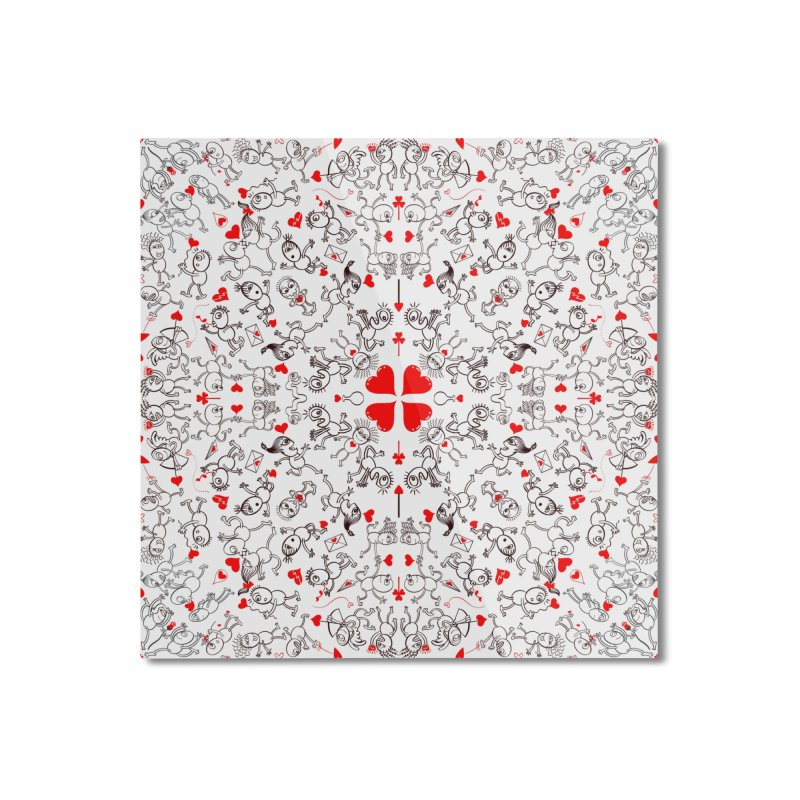 Multiple facets of love in a single funny pattern design Home Mounted Aluminum Print by Zoo&co's Artist Shop