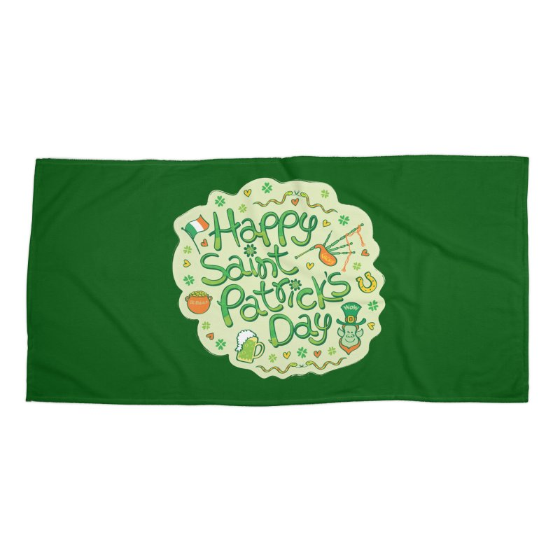 Celebrate Saint Patrick's Day in big style! Accessories Beach Towel by Zoo&co's Artist Shop