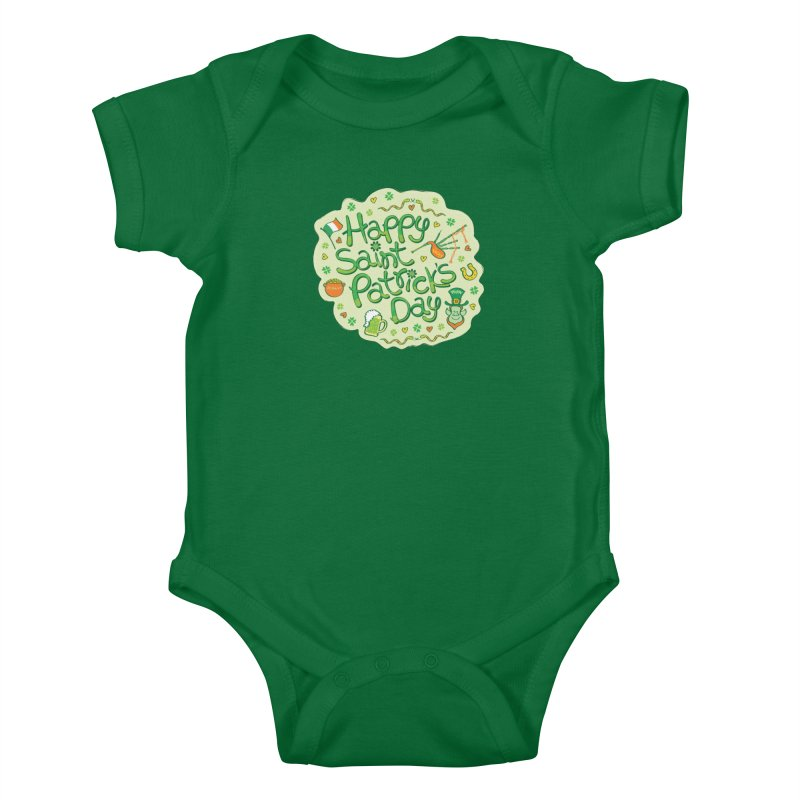 Celebrate Saint Patrick's Day in big style! Kids Baby Bodysuit by Zoo&co's Artist Shop