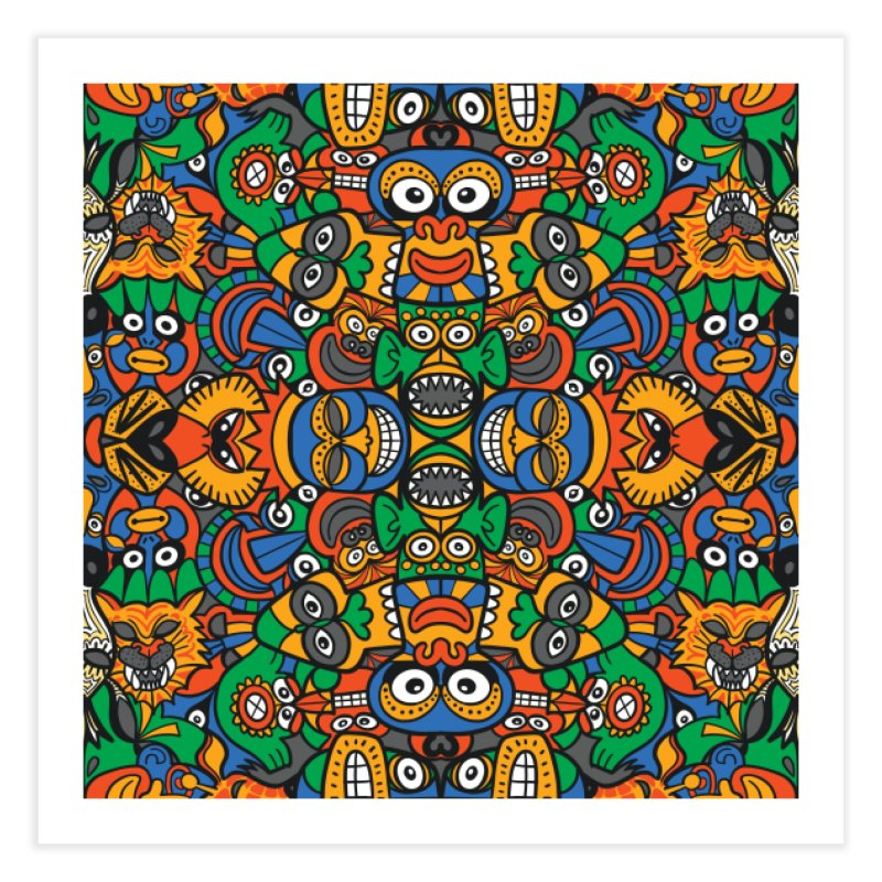 All African fantasy in a single pattern design Home Fine Art Print by Zoo&co's Artist Shop