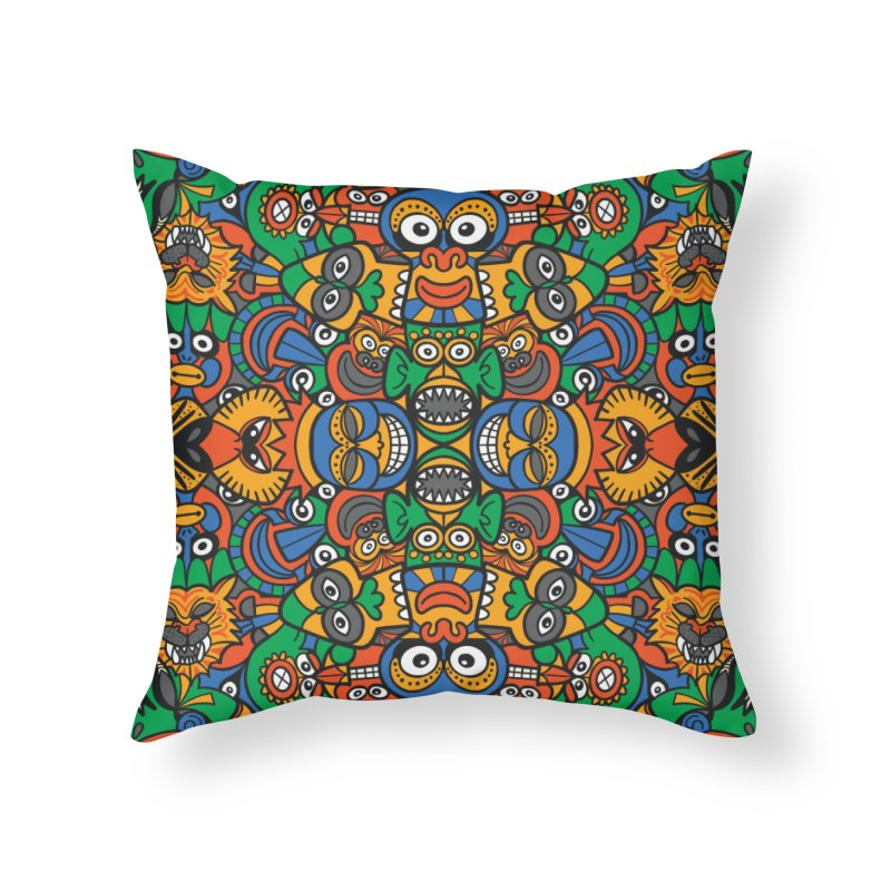 All African fantasy in a single pattern design Home Throw Pillow by Zoo&co's Artist Shop