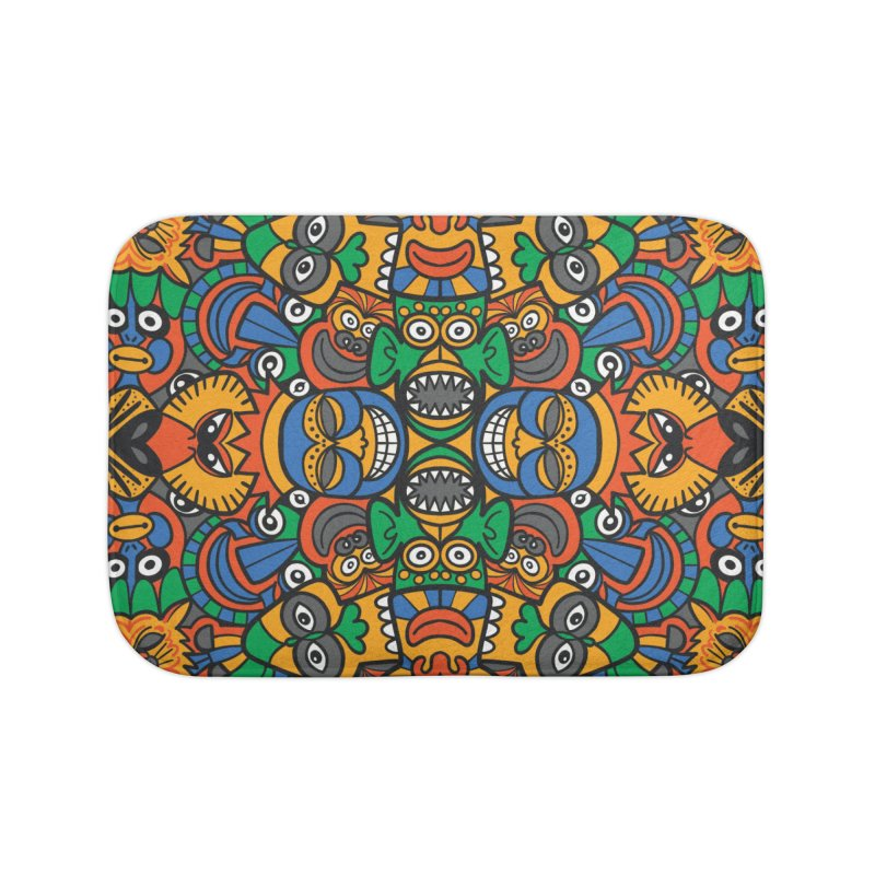 All African fantasy in a single pattern design Home Bath Mat by Zoo&co's Artist Shop