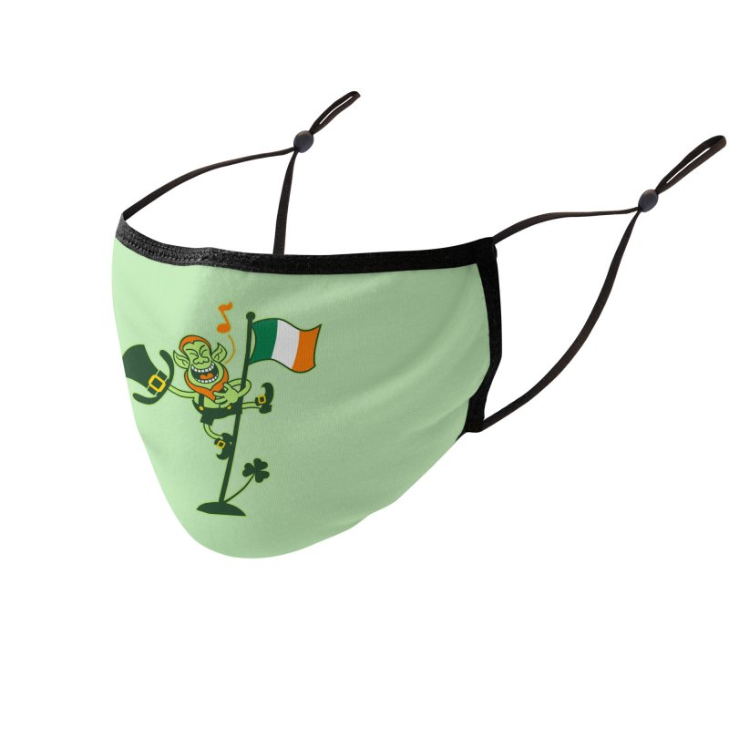Saint Patrick's Day Leprechaun climbing an Irish flag pole and singing Accessories Face Mask by Zoo&co's Artist Shop