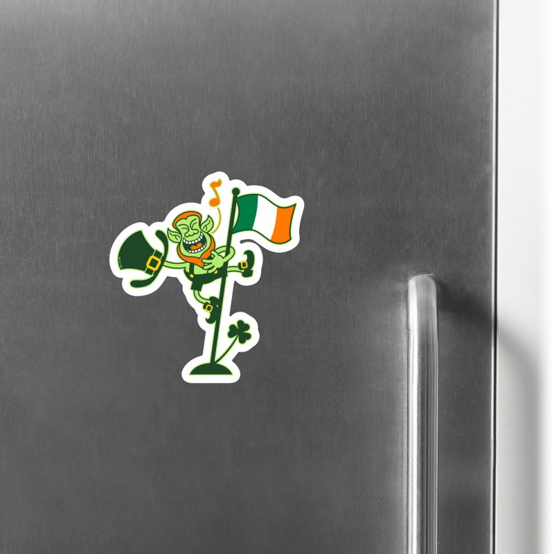Saint Patrick's Day Leprechaun climbing an Irish flag pole and singing Accessories Magnet by Zoo&co's Artist Shop