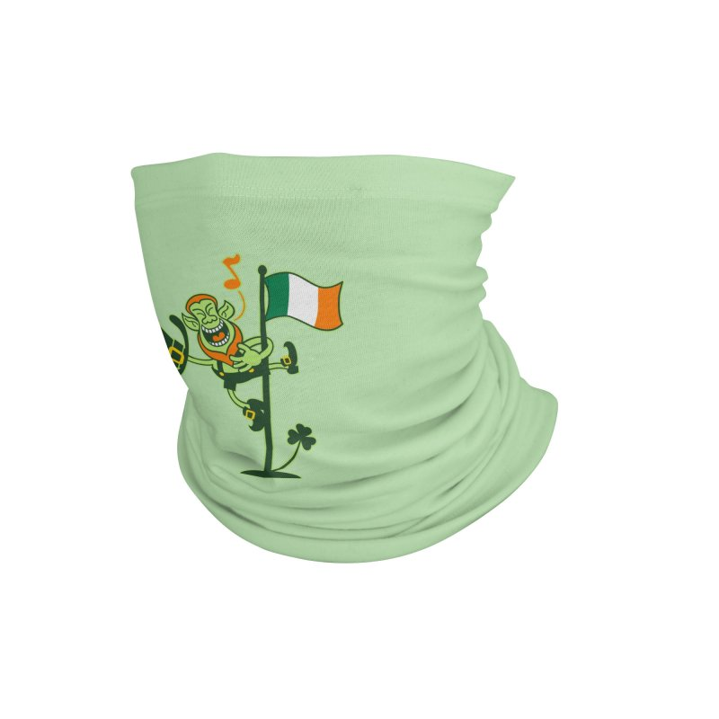 Saint Patrick's Day Leprechaun climbing an Irish flag pole and singing Accessories Neck Gaiter by Zoo&co's Artist Shop