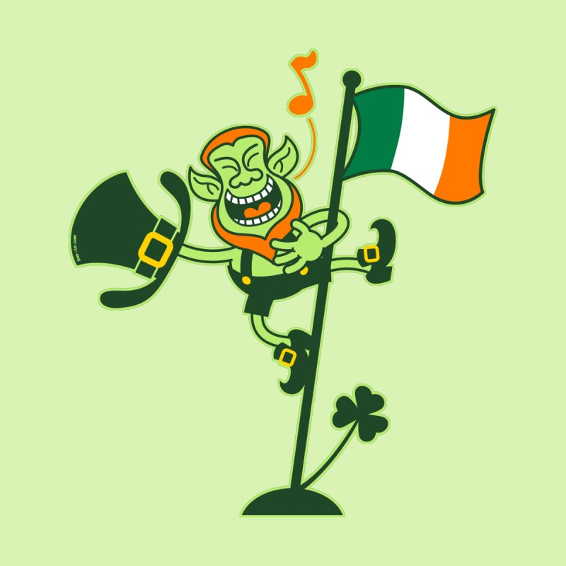 Saint Patrick's Day Leprechaun climbing an Irish flag pole and singing Home Stretched Canvas by Zoo&co's Artist Shop
