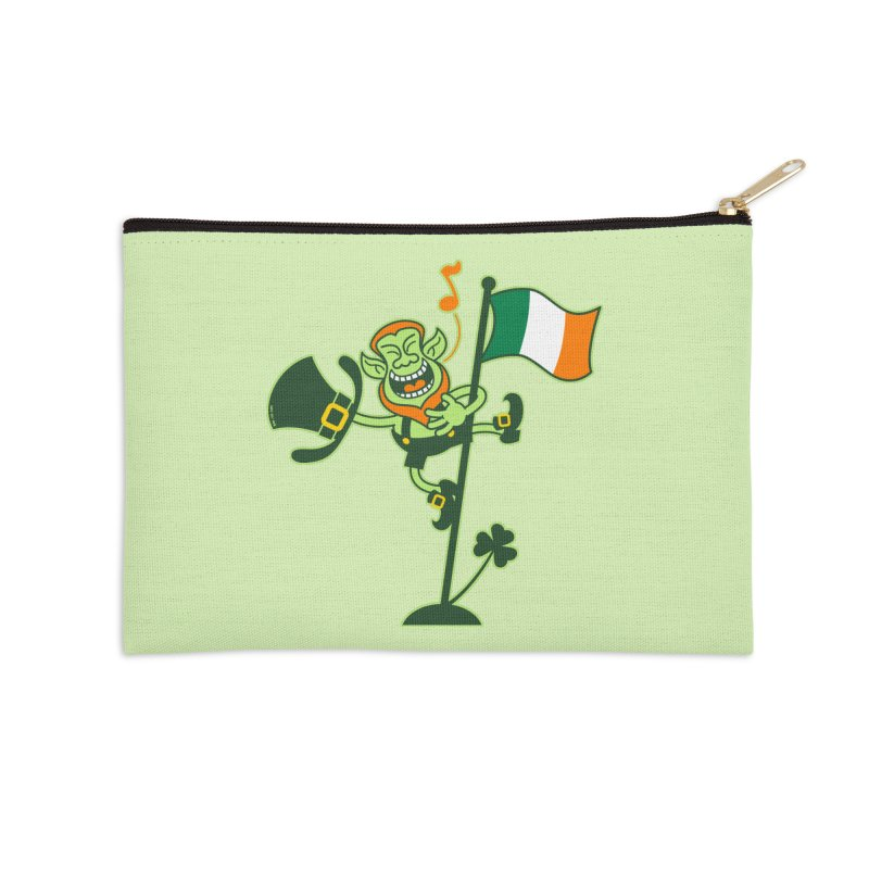 Saint Patrick's Day Leprechaun climbing an Irish flag pole and singing Accessories Zip Pouch by Zoo&co's Artist Shop