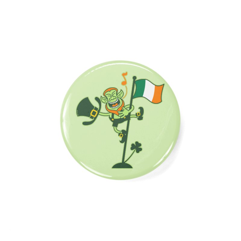 Saint Patrick's Day Leprechaun climbing an Irish flag pole and singing Accessories Button by Zoo&co's Artist Shop