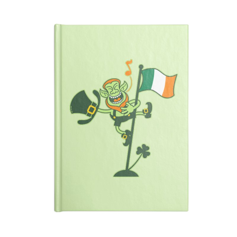 Saint Patrick's Day Leprechaun climbing an Irish flag pole and singing Accessories Notebook by Zoo&co's Artist Shop