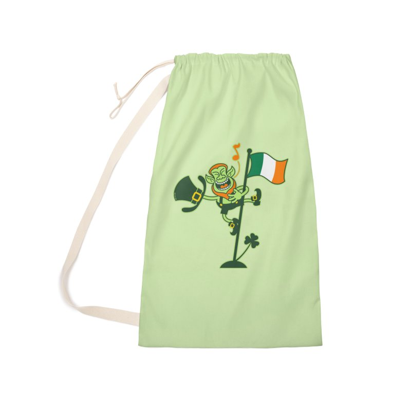 Saint Patrick's Day Leprechaun climbing an Irish flag pole and singing Accessories Bag by Zoo&co's Artist Shop