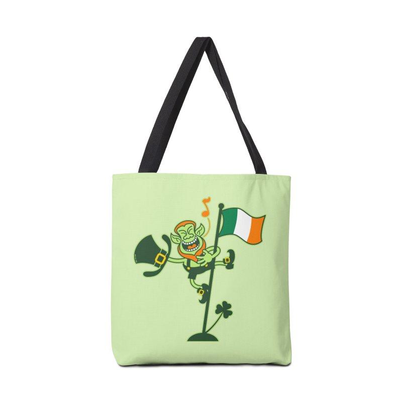 Saint Patrick's Day Leprechaun climbing an Irish flag pole and singing Accessories Bag by Zoo&co's Artist Shop