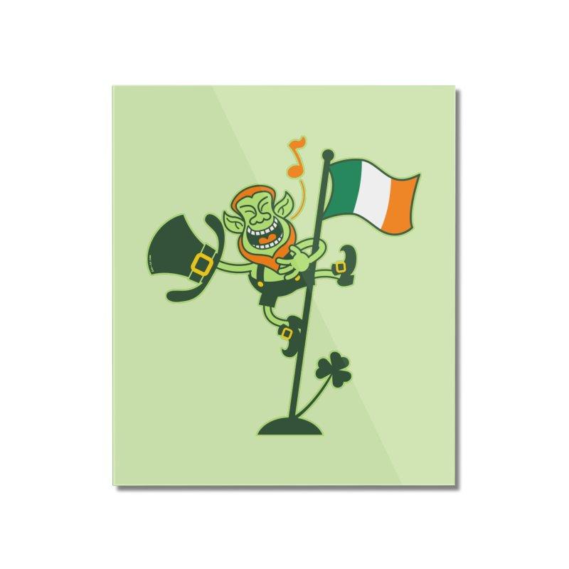 Saint Patrick's Day Leprechaun climbing an Irish flag pole and singing Home Mounted Acrylic Print by Zoo&co's Artist Shop