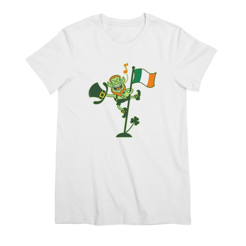 Saint Patrick's Day Leprechaun climbing an Irish flag pole and singing Women's T-Shirt by Zoo&co's Artist Shop