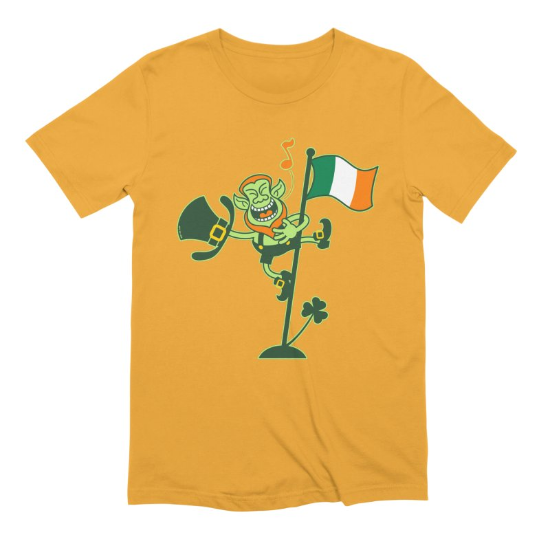 Saint Patrick's Day Leprechaun climbing an Irish flag pole and singing Men's T-Shirt by Zoo&co's Artist Shop