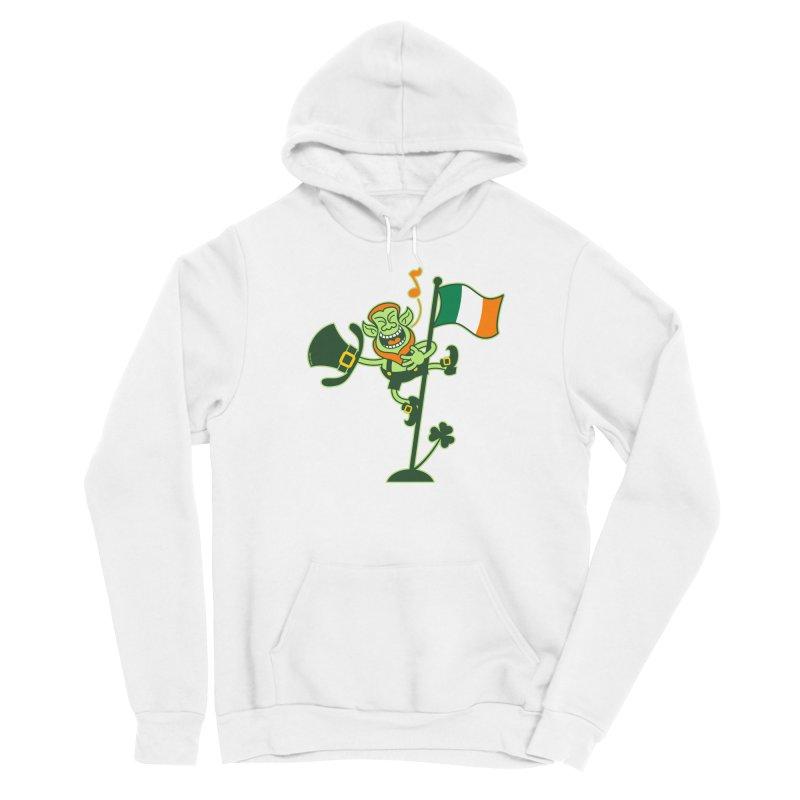 Saint Patrick's Day Leprechaun climbing an Irish flag pole and singing Men's Pullover Hoody by Zoo&co's Artist Shop