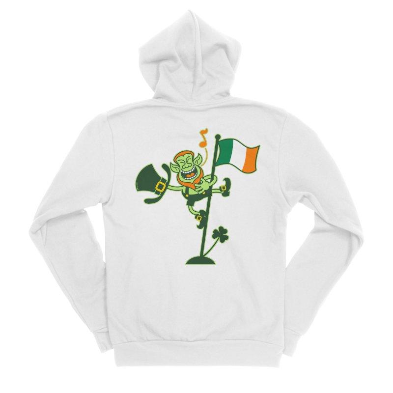 Saint Patrick's Day Leprechaun climbing an Irish flag pole and singing Men's Zip-Up Hoody by Zoo&co's Artist Shop