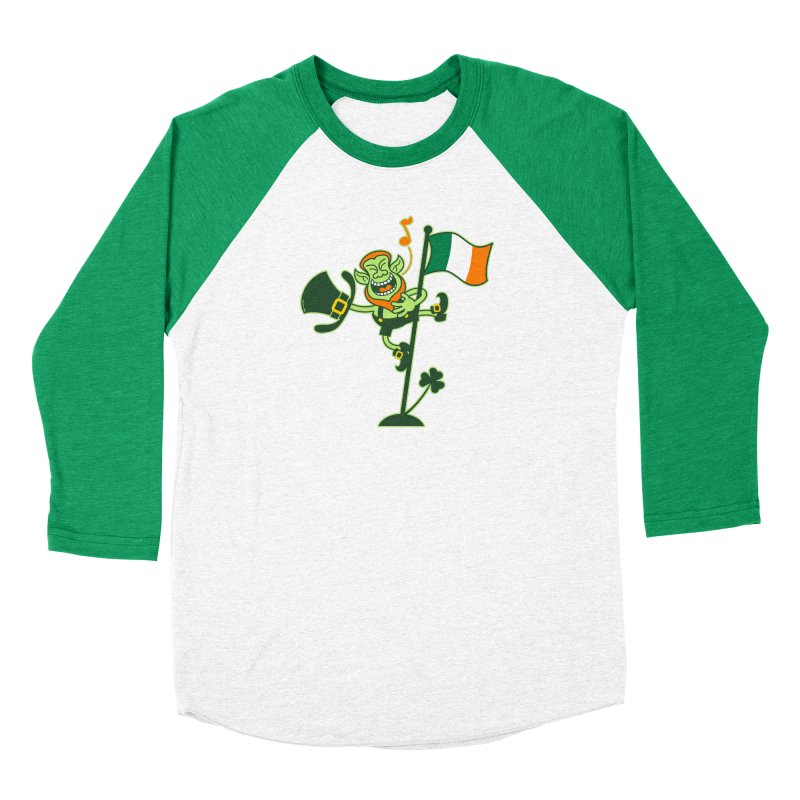 Saint Patrick's Day Leprechaun climbing an Irish flag pole and singing Men's Longsleeve T-Shirt by Zoo&co's Artist Shop