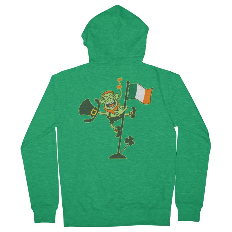 Saint Patrick's Day Leprechaun climbing an Irish flag pole and singing Women's Zip-Up Hoody by Zoo&co's Artist Shop