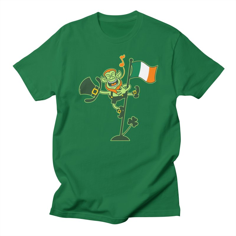 Saint Patrick's Day Leprechaun climbing an Irish flag pole and singing Women's T-Shirt by Zoo&co's Artist Shop