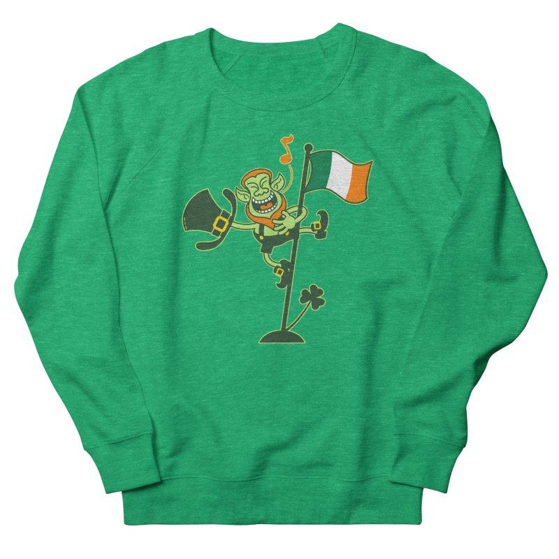 Saint Patrick's Day Leprechaun climbing an Irish flag pole and singing Women's Sweatshirt by Zoo&co's Artist Shop