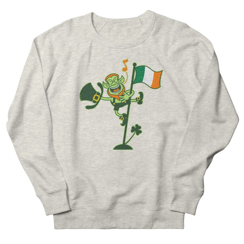 Saint Patrick's Day Leprechaun climbing an Irish flag pole and singing Men's Sweatshirt by Zoo&co's Artist Shop