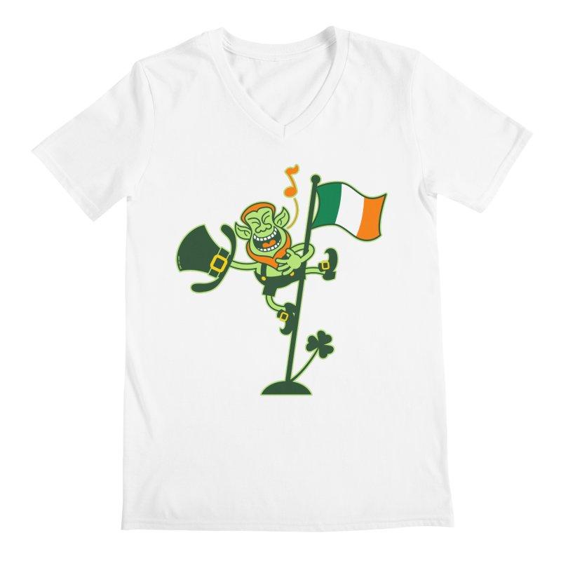 Saint Patrick's Day Leprechaun climbing an Irish flag pole and singing Men's V-Neck by Zoo&co's Artist Shop