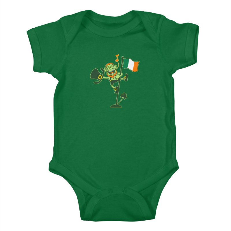 Saint Patrick's Day Leprechaun climbing an Irish flag pole and singing Kids Baby Bodysuit by Zoo&co's Artist Shop