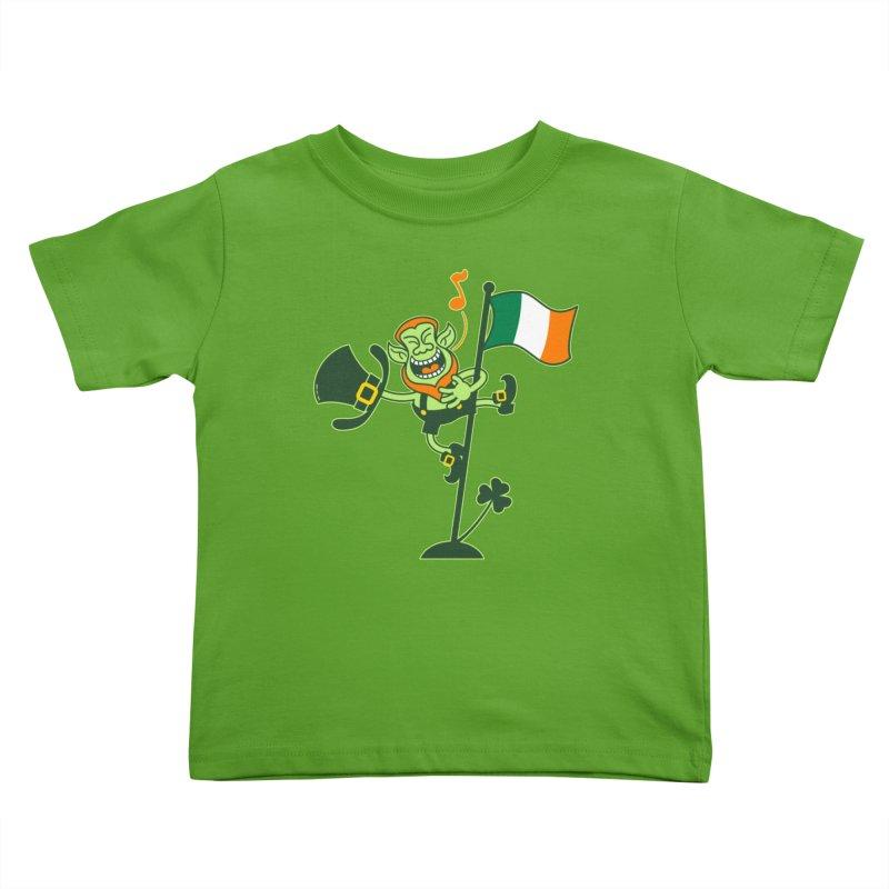 Saint Patrick's Day Leprechaun climbing an Irish flag pole and singing Kids Toddler T-Shirt by Zoo&co's Artist Shop