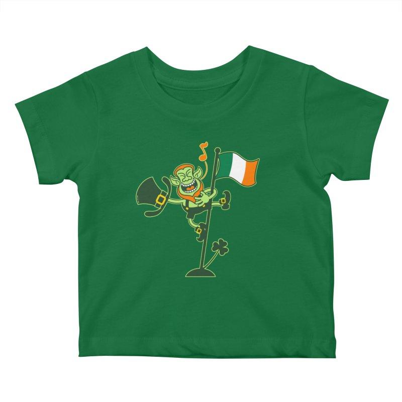 Saint Patrick's Day Leprechaun climbing an Irish flag pole and singing Kids Baby T-Shirt by Zoo&co's Artist Shop