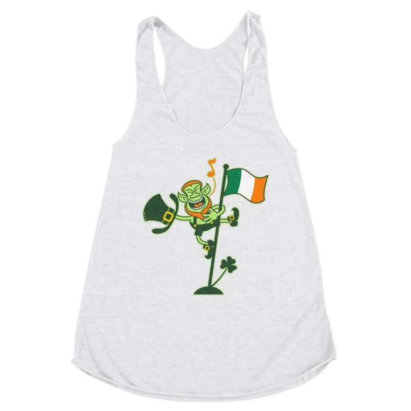 Saint Patrick's Day Leprechaun climbing an Irish flag pole and singing Women's Tank by Zoo&co's Artist Shop