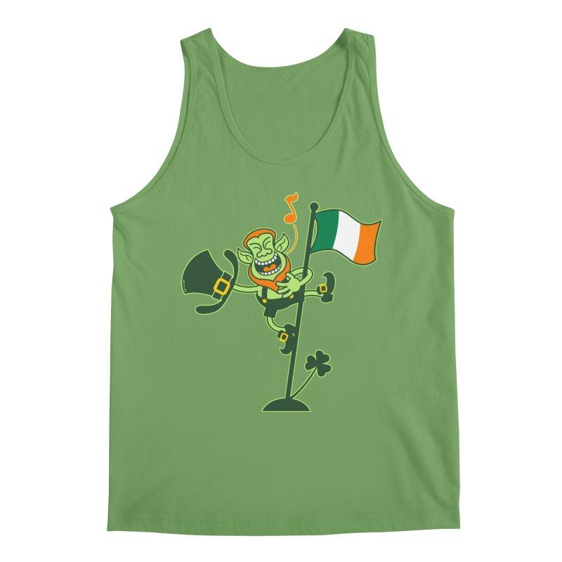 Saint Patrick's Day Leprechaun climbing an Irish flag pole and singing Men's Tank by Zoo&co's Artist Shop